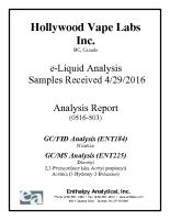 Hollywood ® Vape Labs – Legends® E-Liquids Analysis Summary